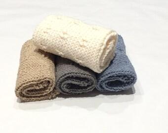 Hand Knit Washcloths, Dishcloths  - 100% Cotton, Bath and Body, Kitchen,  Gift Set, Set of 4.