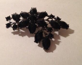 Vintage Retro Black Stone Brooch Pin