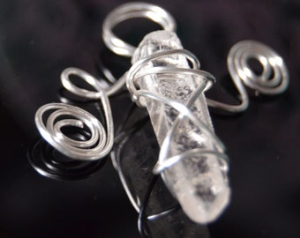 Lovely quartz crystal point wrapped pendant with embellishment