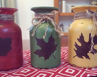 Rustic 3-Piece Chalk Painted & Lightly Distressed Vase Set; Fall Home Decor