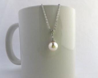Pearl Crystal Bridal Necklace Pearl Wedding Cubic Zirconia Necklace Rhodium Swarovski Pearl Necklace Pearl Bridesmaid Jewelry Pearl Pendant
