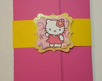 10 Hello Kitty Party Invitation, Hello Kitty  Inspired Birthday Party Invitation, Hello Kitty Birthday Invitation, Girl Invitation, Handmade
