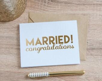 Married Congratulations Wedding Card, Gold Foil - Married Card - Gold Wedding Card - Congrats Wedding Card - Wedding Card - Blank Card