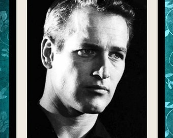 Paul Newman photograph, vintage photo print, classic Hollywood photograph, black and white print, boho wall decor