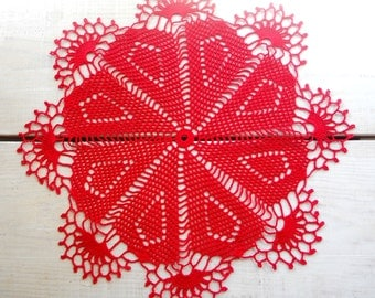 14 inch Red Lace Crochet Doily, Handmade Gift for Her, Victorian Style Interior, Vintage Style Home Decor, Crochet Tablecloth, Red Table