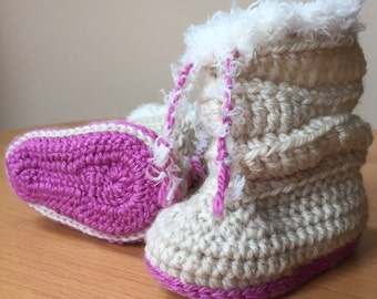 "Crochet Baby Girl Booties, toddler slippers, ugg, slippers, loafers, ""Mia"""