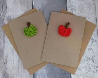 Apple for the teacher, teacher thank you card, end of term gift, crochet apple, red apple, green apple
