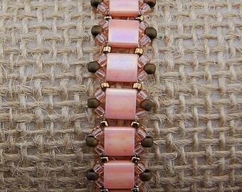 Beautiful Salmon Peach Tila bead bracelet