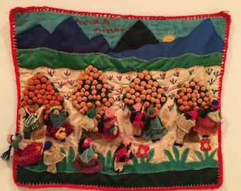 Vintage Arpillera Textile Wall Hanging - TANGERINE HARVEST - Peru 3D Folk Fiber Art