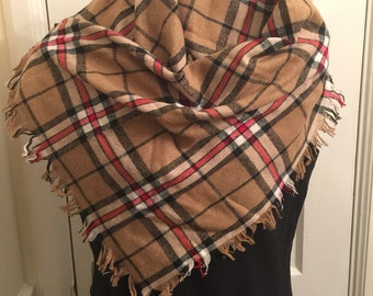 Cozy Vintage tartan plaid wool fringe scarf, tan/red/black/white