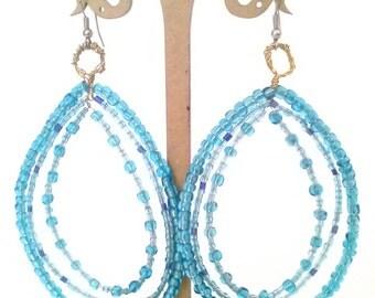 Turquoise Glass Bead Tear Drop Earrings
