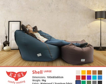 Shell Large: bean bag chair, contemporary adult size lounge chair, huge comfort & high quality fabric