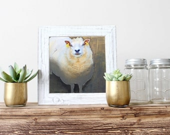 Sheep painting Square art print Original animal painting Modern farmhouse Home décor Wall décor Wall hanging