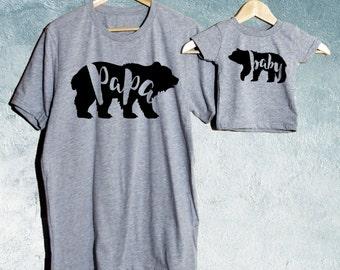 Papa Bear & Baby Bear T-shirt Set of 2, Daddy crew-Neck T-shirt, Baby T-shirts/ Baby shower gift