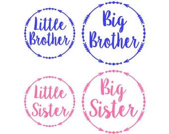 Little Brother - Little Sister - Iron on - DIY Vinyl Applique