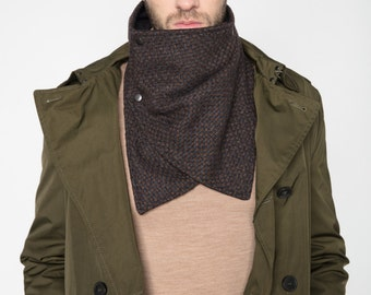 mens scarf, scarf with snaps, winter scarf, neckwarmer scarf ,mens neckwarmer, mens cowl, mens grey scarf, mens brown cowl, grey neckwarmer