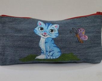 Pencil case with a cute blue cat. Denim zippered pencil case. Denim pouch. Denim bag.