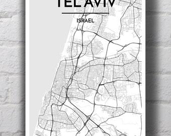 B&W Tel Aviv City Map Print