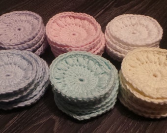 Set of 6 Crochet Cotton Rounds, Face Scrubbies, Reusable Make Up Remover Pads - White, Pink, Lilac, Mint, Blue, Yellow.