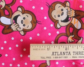 Monkeys on Pink Cotton Fabric Fat Quarter 18 X 22