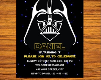 Star Wars Invitation - Star Wars Party Invitation - Star Wars Birthday Party Invite - Star Wars Party Printable - FREE card THANK YOU | M02