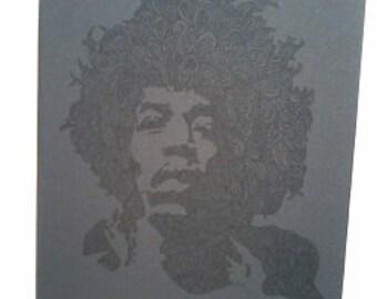 Black on Black Barely There Jimi Hendrix Zentangle A4 Art Print