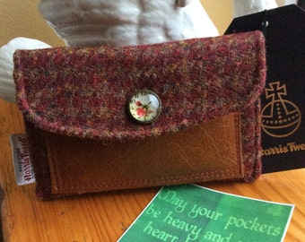 Russet and Burnt Umber Harris Tweed Coin Purse