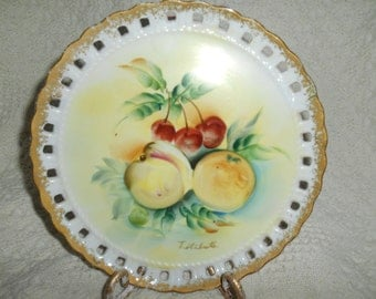 Reticulated Noleans Japan Hanging Hand Painted Fruit Plate Signed T Shibuta