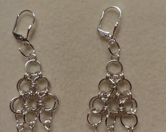 Pyramid chain mail earrings