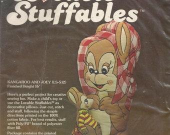 "Loveable Stuffables Kangaroo Joey 16"" Decorative Pillow Kit Vintage by Fairfield"