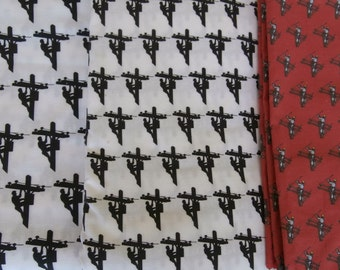 1/2 Yard Lineman Fabric Material - Choice of three patterns