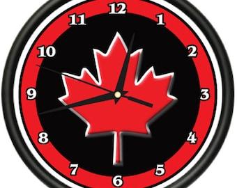 Canadian Wall Clock Canada Flag Maple Leaf New Gift