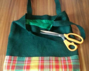 Bag in canvas and jute fabric madras