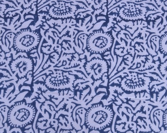 Blue Floral Hand Printed Fabric Indian Block Print 100% Cotton Running Fabric Handmade Bohemian Fabric For Clothing