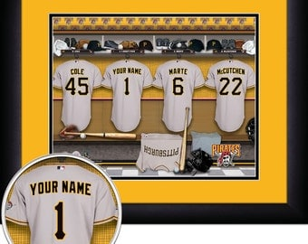 "Pittsburgh Pirates MLB Framed Personalized Locker Room Baseball Sports  Home  Decor 15""x18"" Inches Free Shipping"
