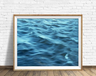 "abstract wall art, water, waves, blue, instant download printable art, large art, large wall art, printable art, wall art - ""Shades of Blue"""