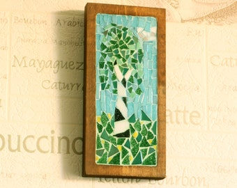 "Mosaic wall picture ""Birch"" - Wall decor - Mosaic picture - Wall hanging - Mosaic art"
