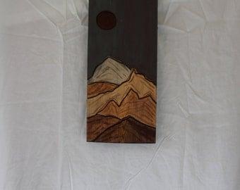 moon & mountain wooden art piece