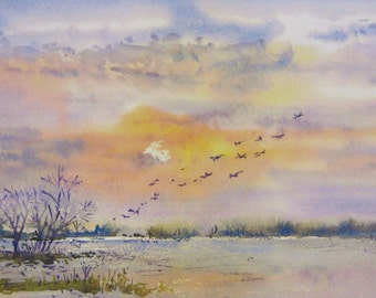 """Landscape watercolors """"FLY AWAY"""". Print. Limited Edition."""