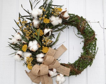 Spring Wreath, Cotton Wreath, Dried Floral Spring wreath, Cotton Spring Wreath, Dried Flower Crescent Wreath, Dried Flower Wreath, Handmade