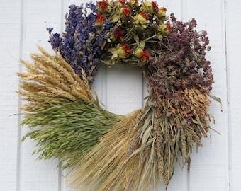 Grain Wreath, Multi Grain Wreath, Wheat Wreath, Dried Flower Wreath, Dried Floral Wreath, Wall Decor, Wreath
