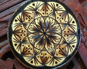 Flower Mandala Magnet - Wood Burned Magnet, Pyrography Art, Bohemian Mandala, Sacred Geometry Mandala, Wood Magnet