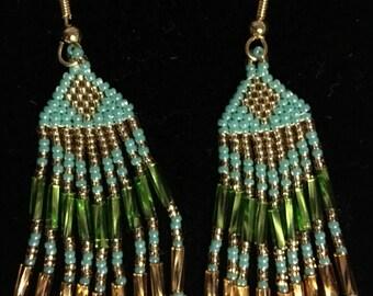 Chandelier Fringe Native American Style Earrings Handmade