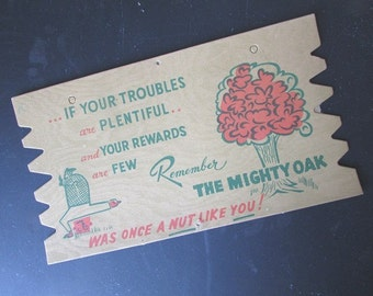 Komic Kard Vintage Postcard Plak 1950 Funny Postcard The Mighty Oak