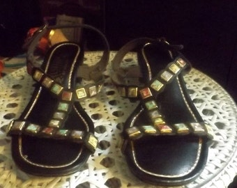 "60's Vintage Grecian Jeweled Sandals ""Signals by Beacon"""