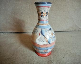 Hand Painted Tonala Pottery Vase Ken Edwards Style Mexico Mid Century