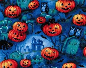 Pumpkin Jack o lantern Black Cat Graveyard scene Halloween fabric, cat fabric, pumpkin fabric,Halloween,graveyard, cemetery
