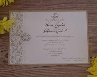 Beautiful wedding invitation,  damask wedding invitation, buckle wedding invitation, buckle wedding invitations, damask invitations, damask