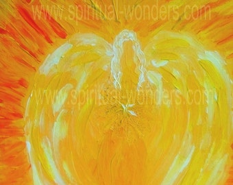 Chakra Angels with Positive Affirmations - I do... Solar Plexus Chakra - Artwork: Angel of Confidence by Eva Maria Hunt, Print, A6 Card