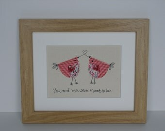 "Applique ""Lovebirds"" picture."